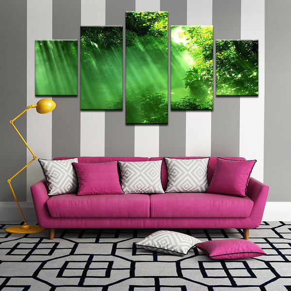 Clearing In The Forest 5 Panel Canvas Print Wall Art