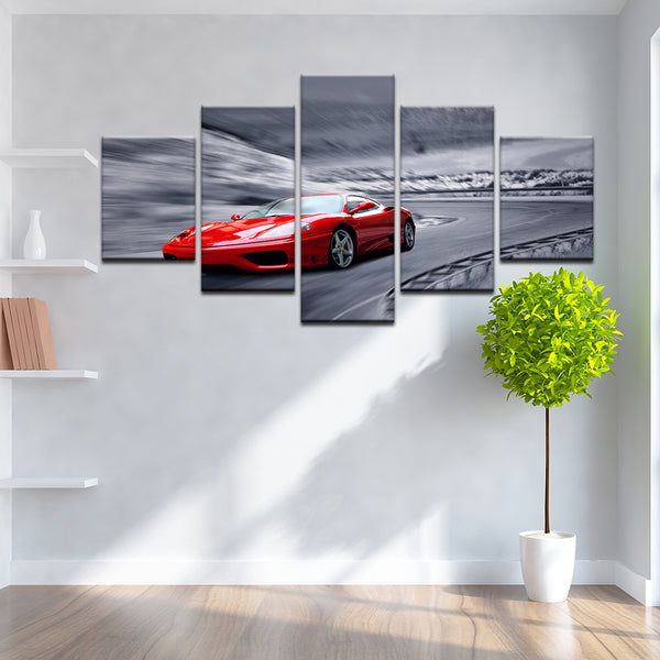 Ferrari 5 Panel Canvas Print Wall Art