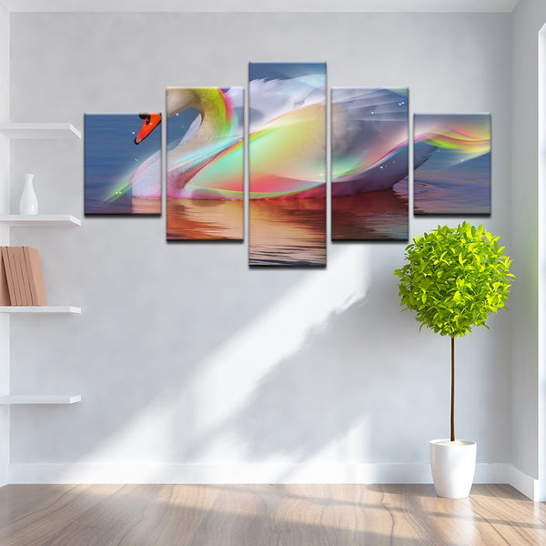 Rainbow Abstract Swan 5 Panel Canvas Print Wall Art