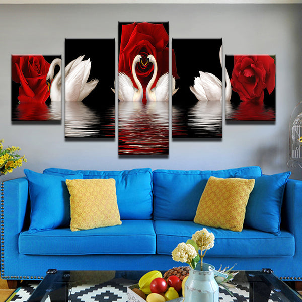 Swans N Roses 5 Panel Canvas Print Wall Art