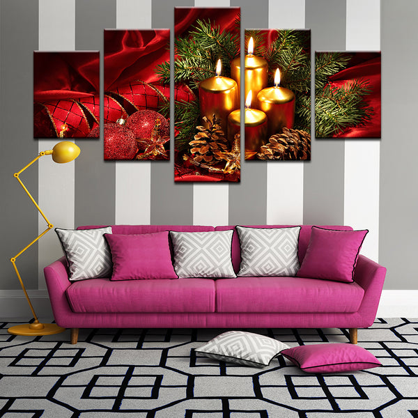 Christmas Decorations 5 Panel Canvas Print Wall Art