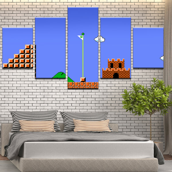 Super Mario Brothers Nintendo 5 Panel Canvas Print Wall Art