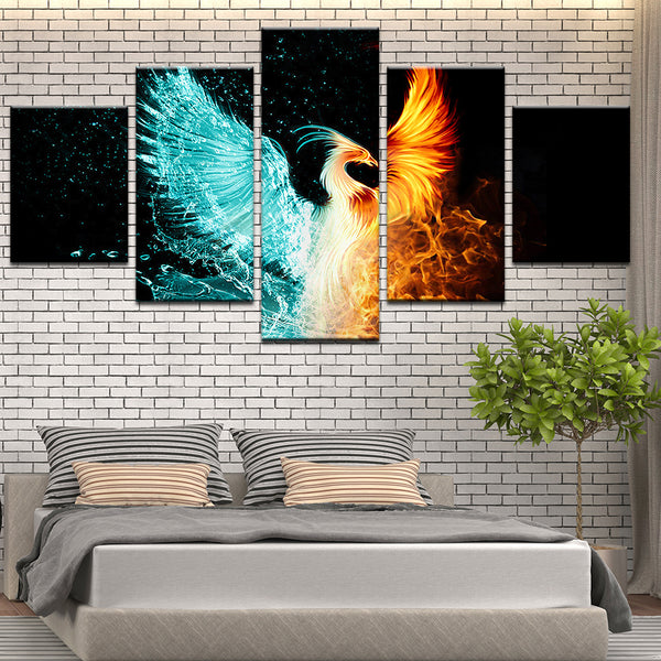 Fire And Ice Phoenix 5 Panel Canvas Print Wall Art