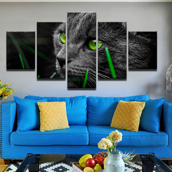 Green Eyed Cat 5 Panel Canvas Print Wall Art
