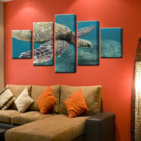 Sea Turtle 5 Panel Canvas Print Wall Art