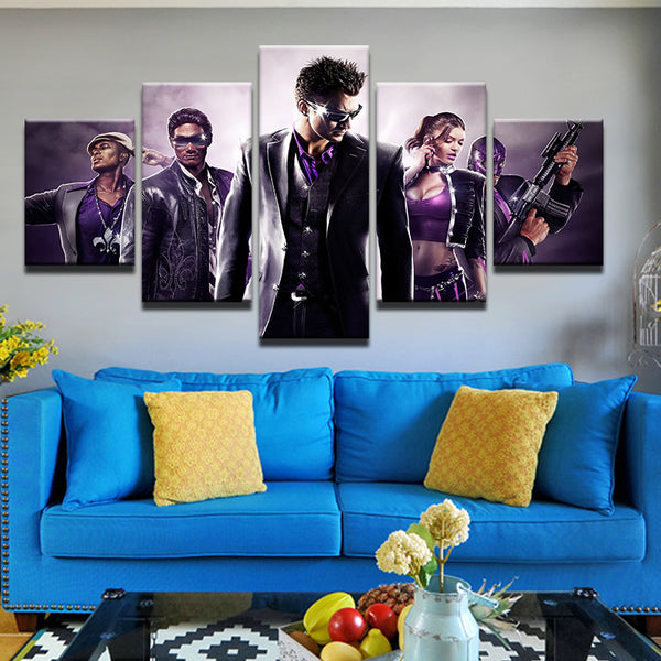 Saints Row 5 Panel Canvas Print Wall Art