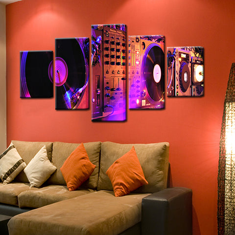 DJ Turntable Mixer Console 5 Panel Canvas Print Wall Art