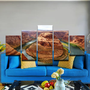 Lake Powell Horshoe Bend Colorado River Arizona Utah 5 Panel Canvas Print Wall Art