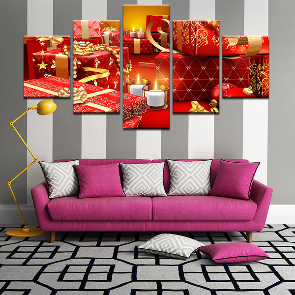 Christmas Presents 5 Panel Canvas Print Wall Art