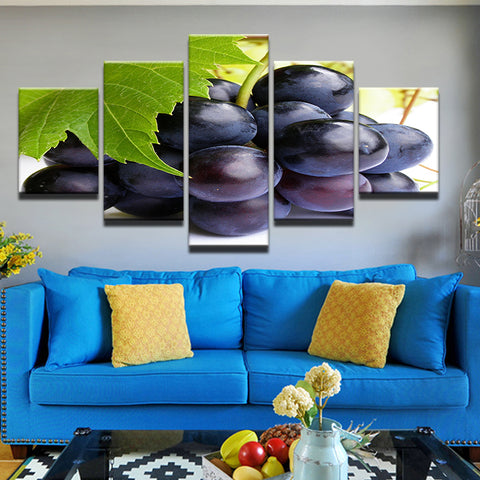 Grapes 5 Panel Canvas Print Wall Art