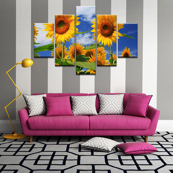 Sunflowers 5 Panel Canvas Print Wall Art
