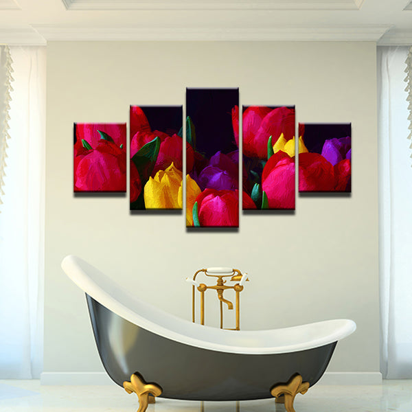 Tulips 5 Panel Canvas Print Wall Art
