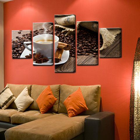 Coffee Shop Cafe Restaurant 5 Panel Canvas Print Wall Art