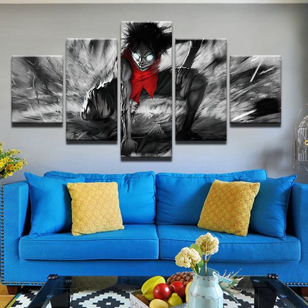 One Piece Luffy 5 Panel Canvas Print Wall Art