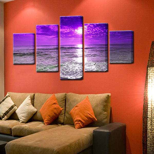 Purple Sunset 5 Panel Canvas Print Wall Art