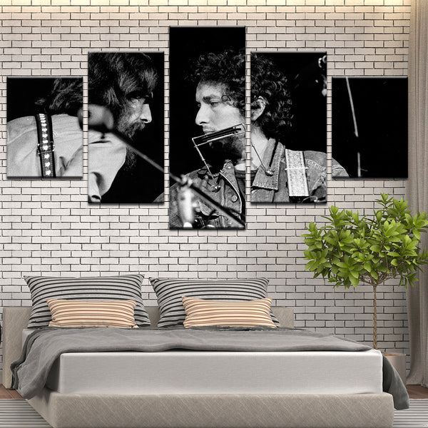 Bob Dylan George Harrison 5 Panel Canvas Print Wall Art