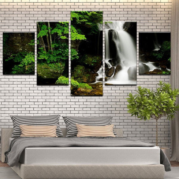 Mossy Forest Waterfall 5 Panel Canvas Print Wall Art