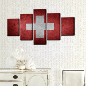 Swiss Switzerland Flag 5 Panel Canvas Print Wall Art