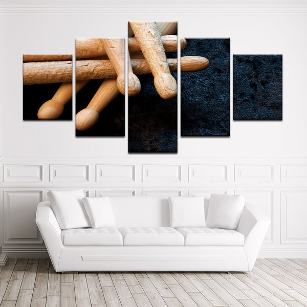 Drum Sticks 5 Panel Canvas Print Wall Art