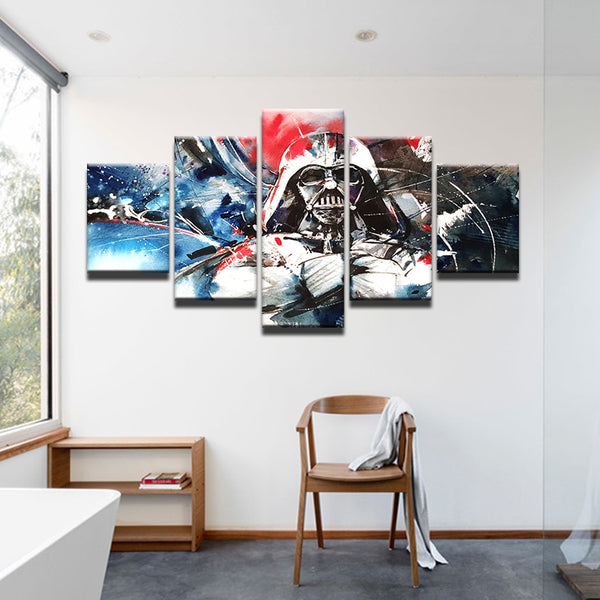 Star Wars Darth Vader Abstract 5 Panel Canvas Print Wall Art