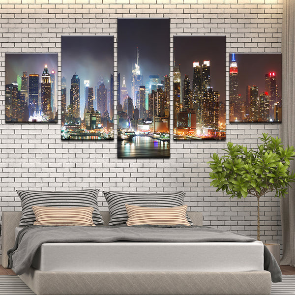 New York City Manhattan Skyline At Night 5 Panel Canvas Print Wall Art