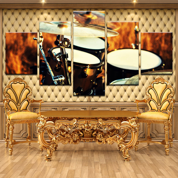 Drum Set 5 Panel Canvas Print Wall Art