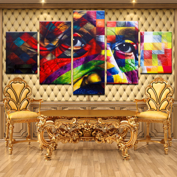 Albert Einstein Abstract Genius 5 Panel Canvas Print Wall Art