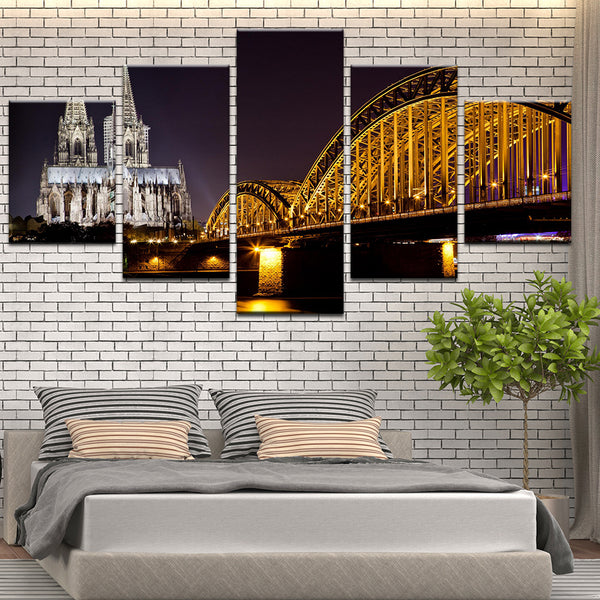 Cologne Cathedral North Rhine-Westphalia, Germany 5 Panel Canvas Print Wall Art