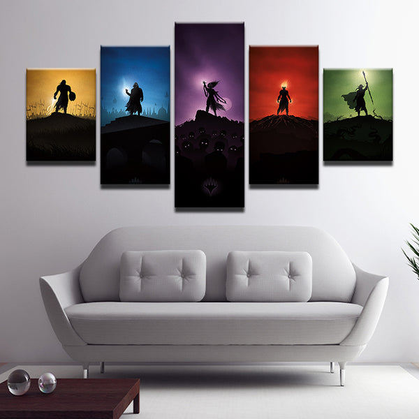 Magic: The Gathering MTG 5 Panel Canvas Print Wall Art
