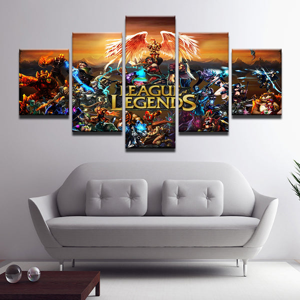 League Of Legends 5 Panel Canvas Print Wall Art