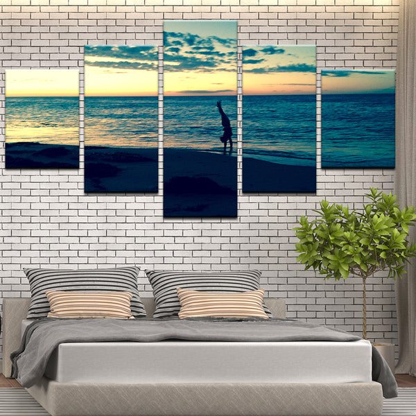 Handstand In The Water Beach Yoga Gymnastics 5 Panel Canvas Print Wall Art