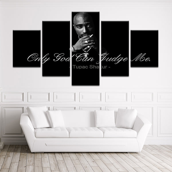 Tupac Only God Can Judge Me 5 Panel Canvas Print Wall Art