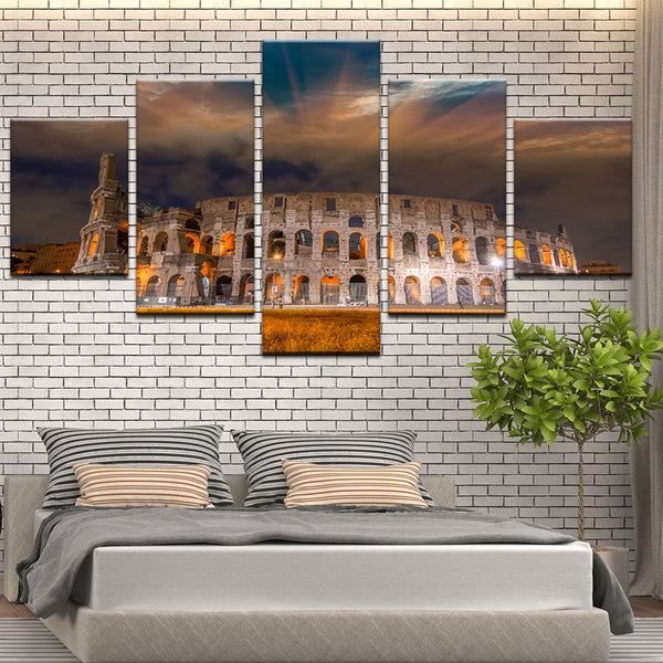 Colosseum At Night Rome Italy 5 Panel Canvas Print Wall Art