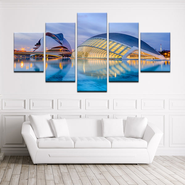 City Of Arts And Sciences Valencia Spain 5 Panel Canvas Print Wall Art