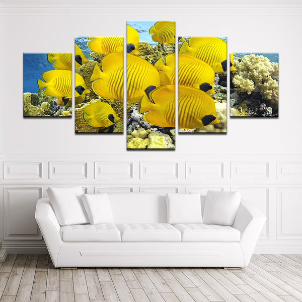 Golden Butterfly Fish On Tropical Reef 5 Panel Canvas Print Wall Art