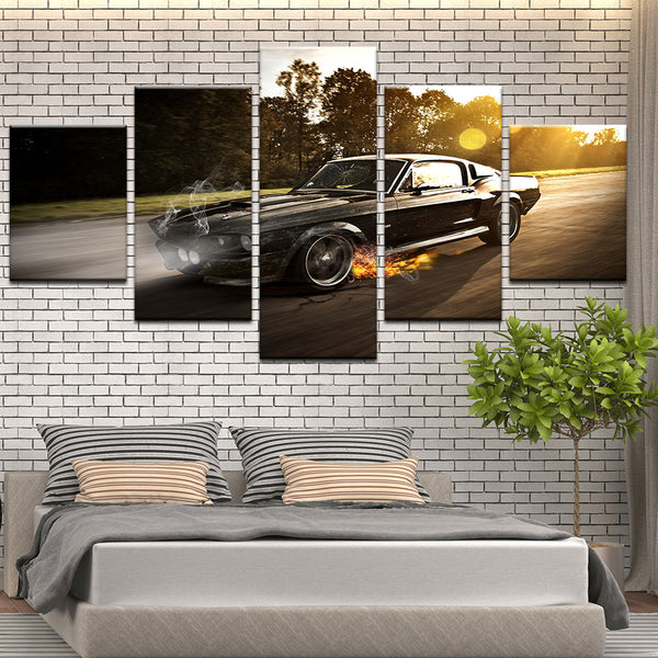 Ford Mustang GT500 5 Panel Canvas Print Wall Art