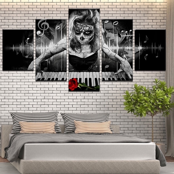 Dia De Muertos Piano Player 5 Panel Canvas Print Wall Art