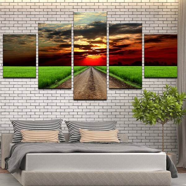 Beautiful Sunset Over Green Field Of Grass 5 Panel Canvas Print Wall Art
