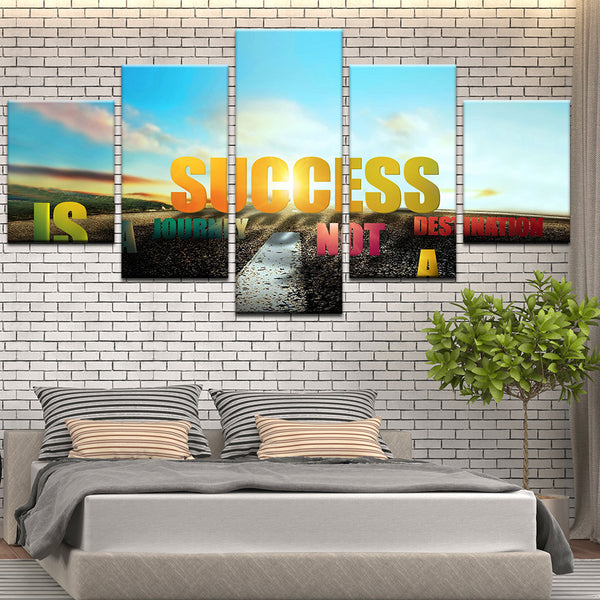 Success Is A Journey Motivational Inspirational Quote 5 Panel Canvas Print Wall Art