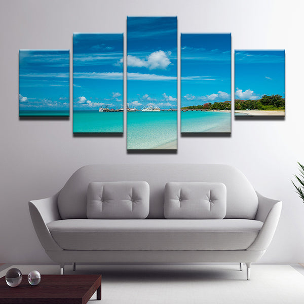 Tropical Beach Boats And Pier 5 Panel Canvas Print Wall Art