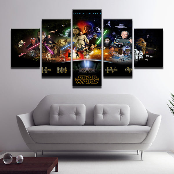 Star Wars Character Collage 5 Panel Canvas Print Wall Art