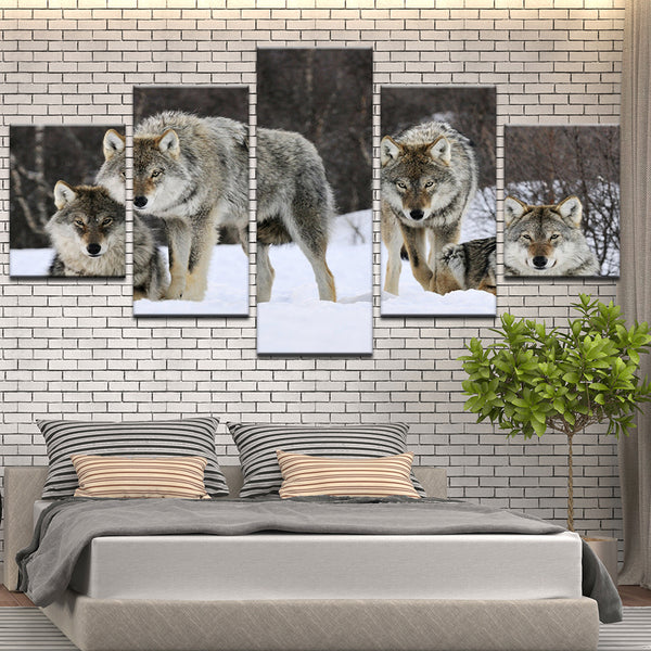Wolves 5 Panel Canvas Print Wall Art