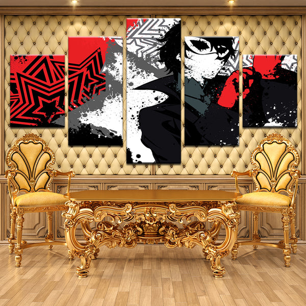 Persona 5 Joker All Out Attack 5 Panel Canvas Print Wall Art