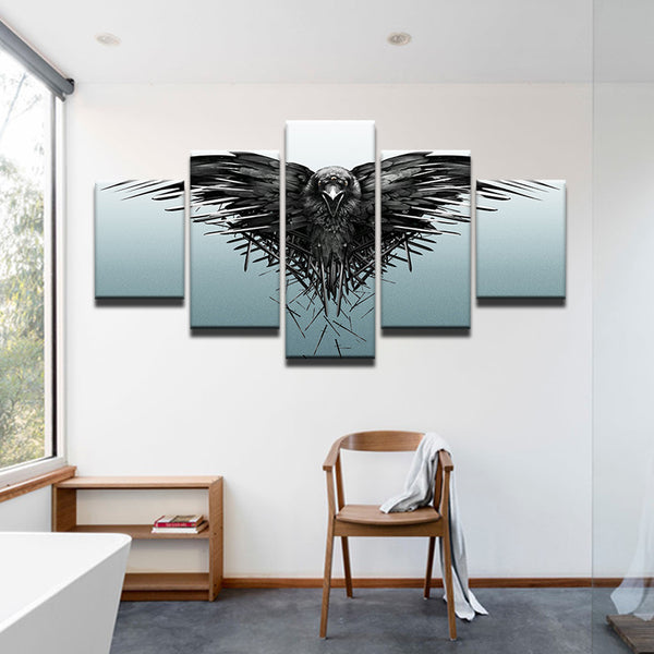 Game Of Thrones Three Eyed Crow 5 Panel Canvas Print Wall Art