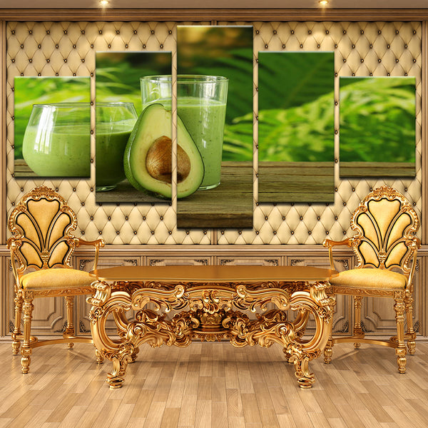 Avocado Juice Bar Smoothie 5 Panel Canvas Print Wall Art