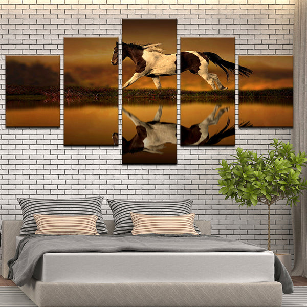 American Paint Running On The Plains 5 Panel Canvas Print Wall Art