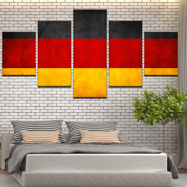 Germany German Deutschland Flag 5 Panel Canvas Print Wall Art