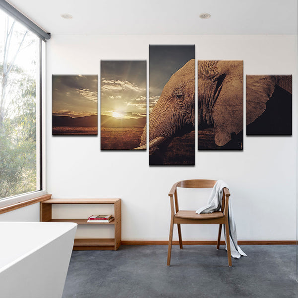 Elephant 5 Panel Canvas Print Wall Art