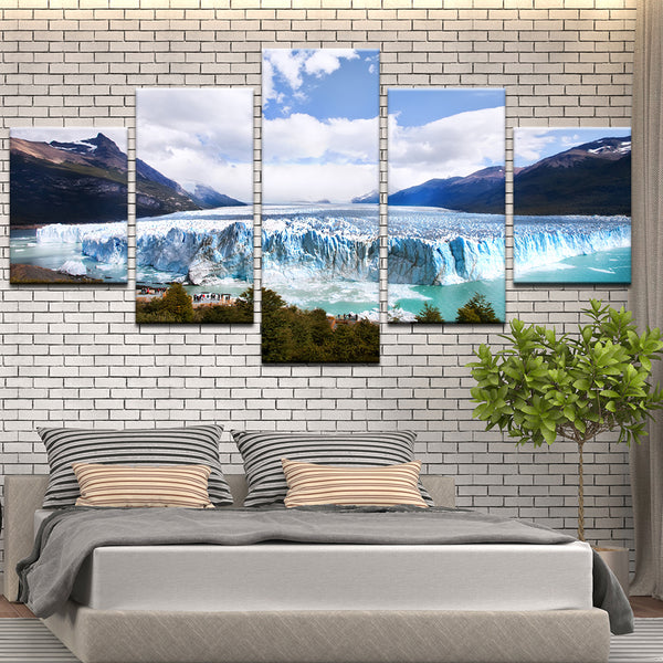 Glacier 5 Panel Canvas Print Wall Art