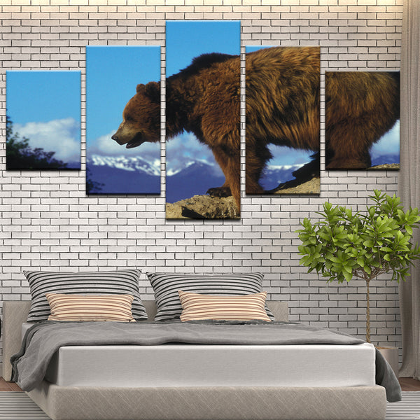 Grizzly Bear Panel Canvas Print Wall Art